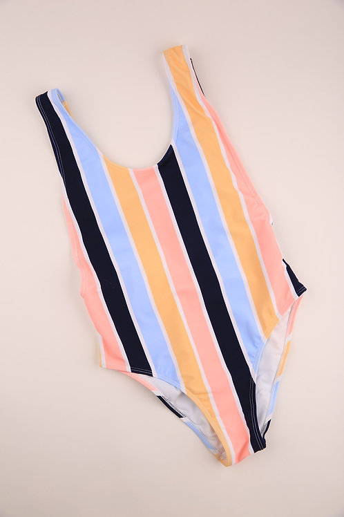 Pastel Stripe Swim One Piece
