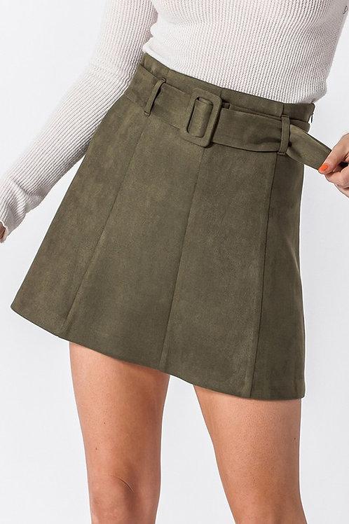 Aspyn Belted Skirt- Olive
