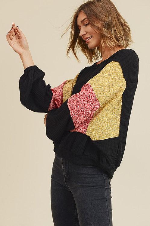 Lainey Waffle Knit Top- Black