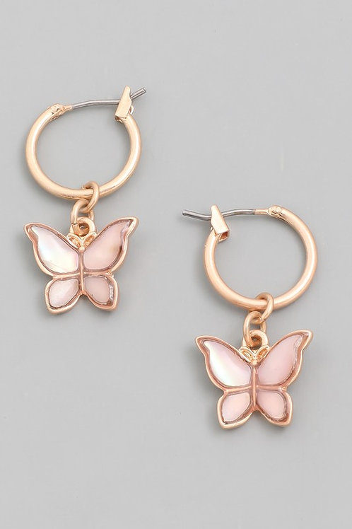 Mini Butterfly Drop Earrings- Pink