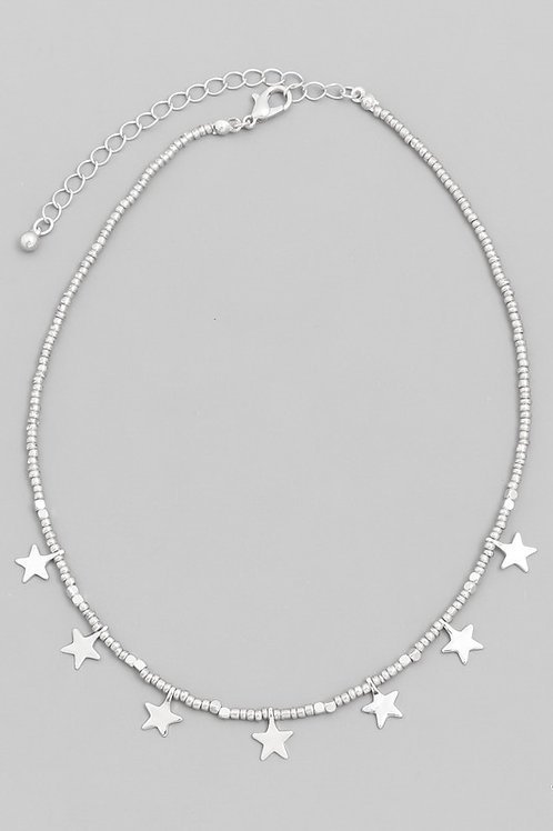 Beaded Star Choker Necklace- Silver