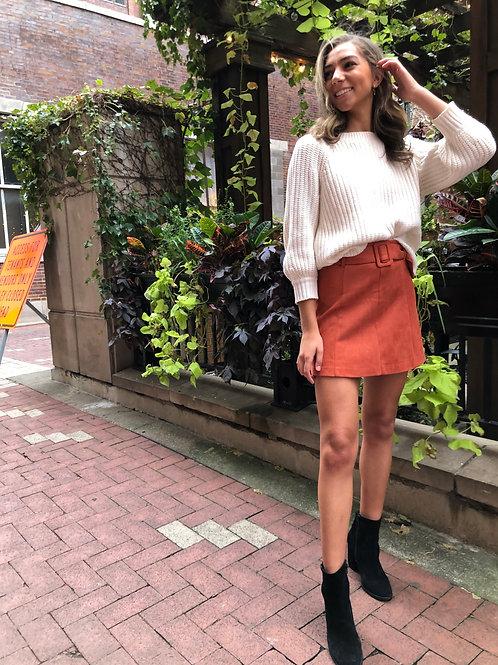 Aspyn Belted Skirt- Rust