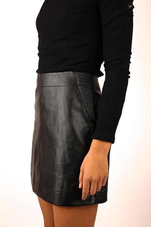 Luca Black Leather Skirt