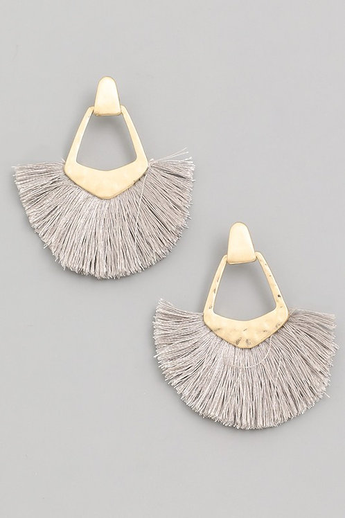 Tassel Drop Earrings- Gray