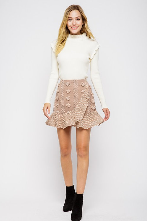 Falon Embellished Wrap Skirt- Coffee