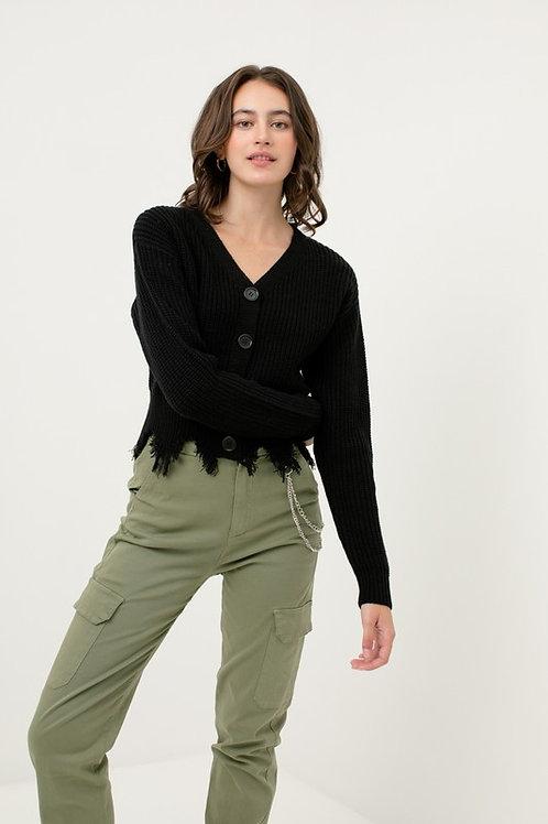 Britt Distressed Sweater- Black