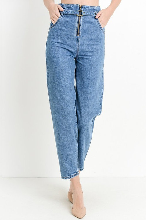 90's Belted High Rise Jeans