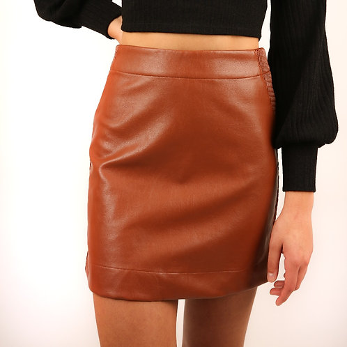 Luca Brown Leather Skirt