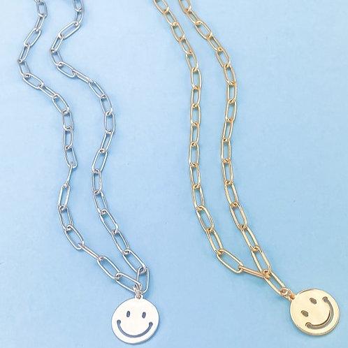 Happy Daze Smile Pendant Chain Necklace