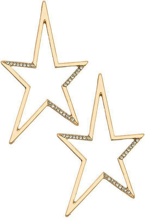 Gold Electric Star Earrings