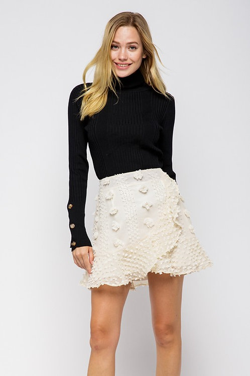 Falon Embellished Wrap Skirt- Cream