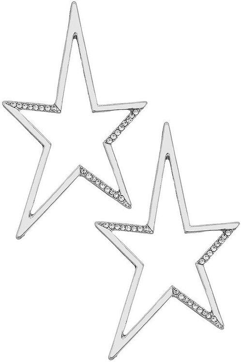 Silver Electric Star Earrings