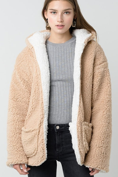Brooklyn Hooded Reversible Sherpa- White/Cream