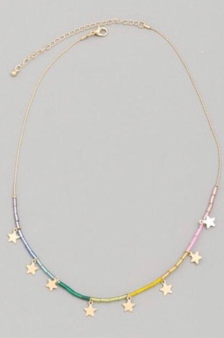 Beaded Star Choker Necklace- Rainbow