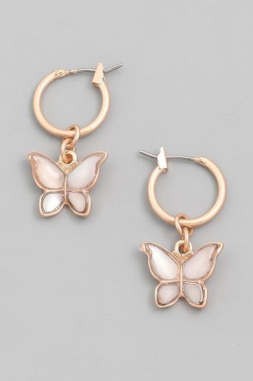 Mini Butterfly Drop Earrings- Opal