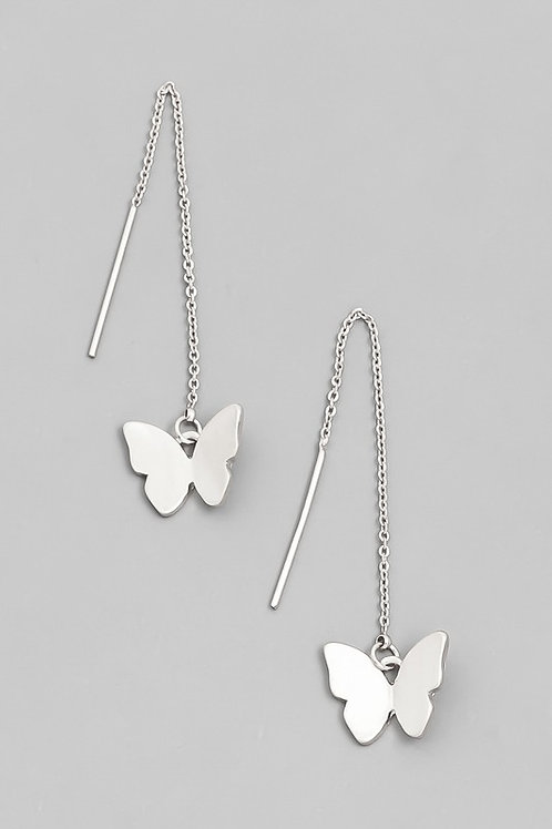 Butterfly Drop Earrings-Silver