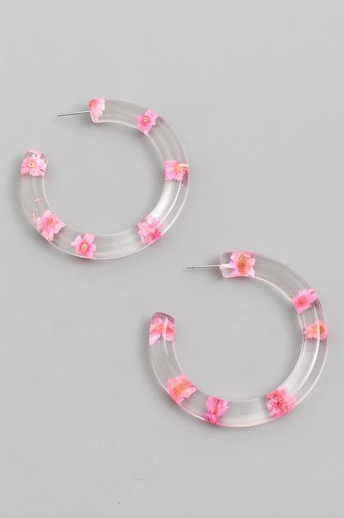 Clear Flower Hoop Earrings- Pink