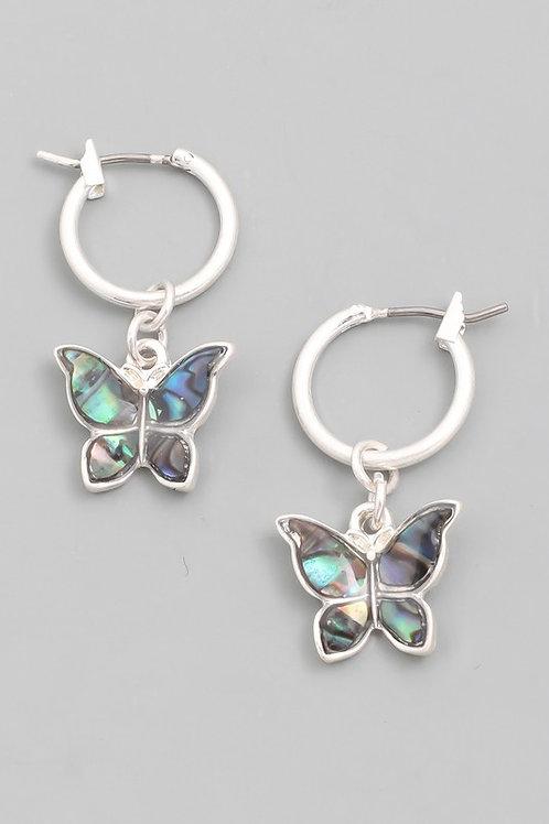 Mini Butterfly Drop Earrings- Multi