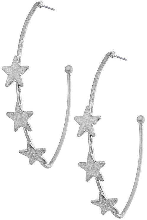 Star Hoops - Worn Silver