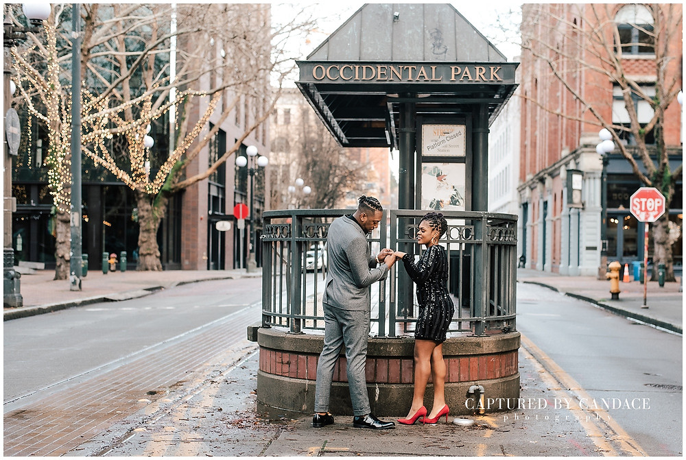 Pioneer square enagement photos in downtown Seattle by captured by candace photography