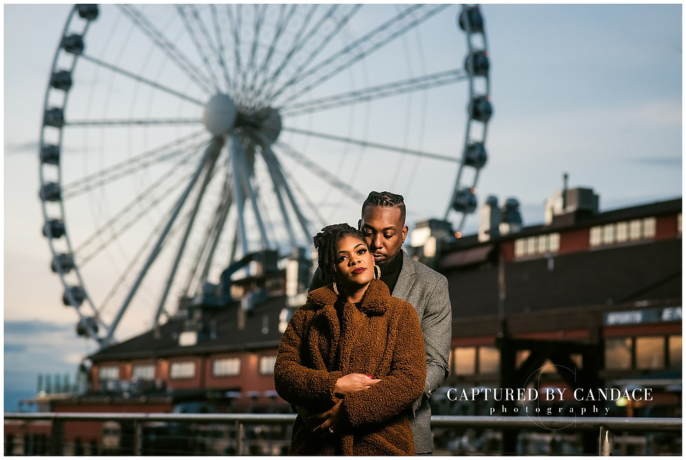 Pioneer square engagement , seattle big wheel engagement, seattle engagement photos