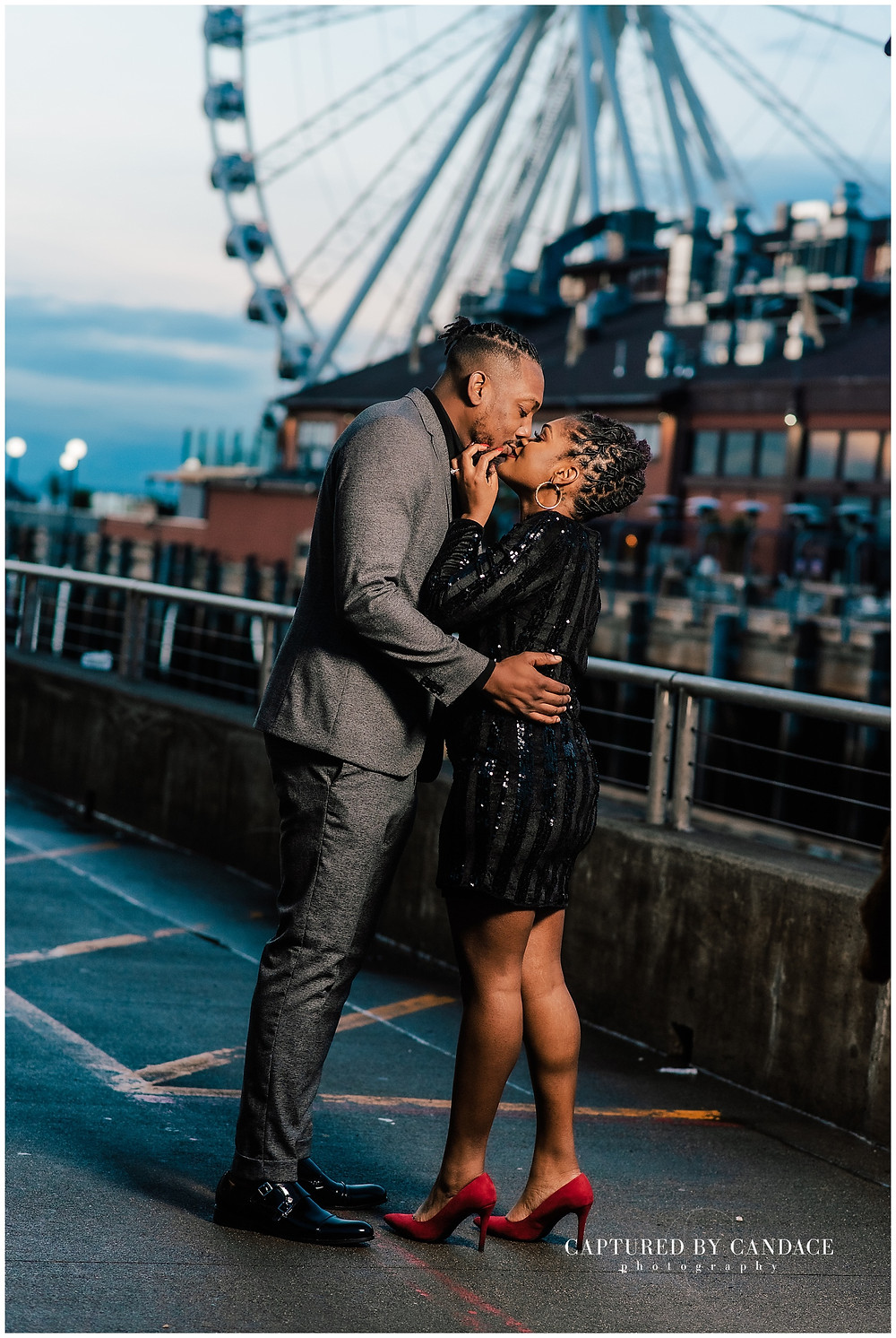 Seattle big wheel engagement photo session in downtown Seattle with Captured by Candace photography