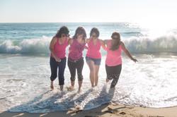 EVJF plage vague soleil rose