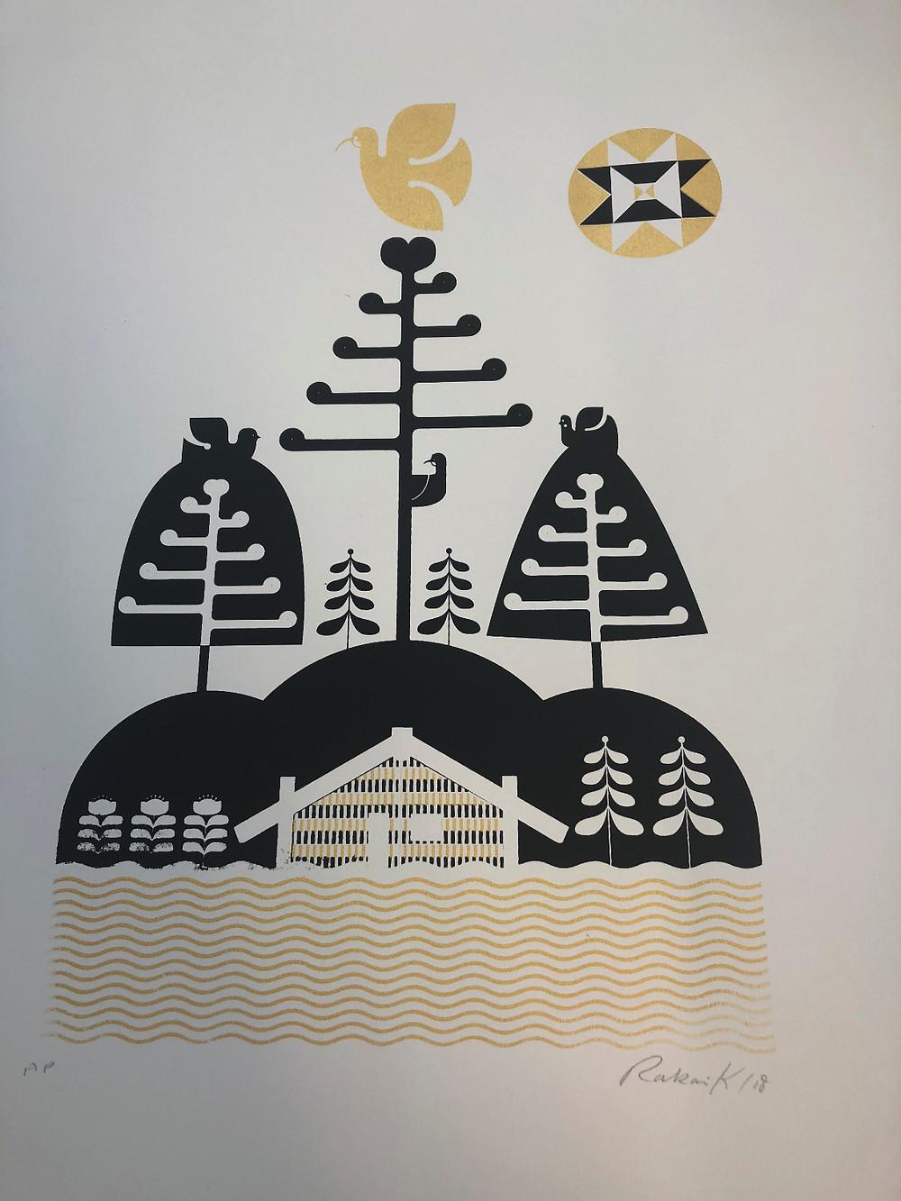 What a work: One of the limited edition prints by Aroha and Friends artist Rakai Karaitiana.