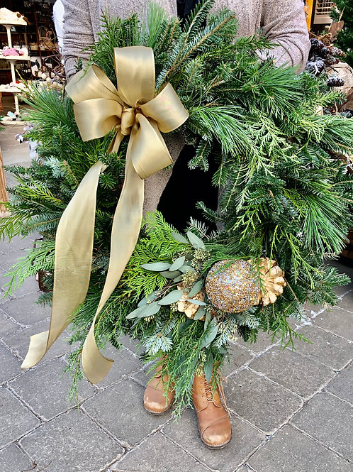 Wreath Dasher - Mixed Greens with Gold Accents and a Gold Bow