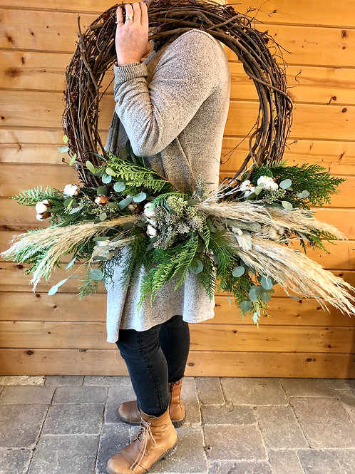 Wreath Cotton Eyed Joe - Grapevine with Cotton and Pampas Plume accents