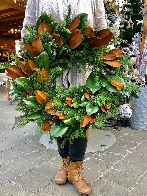 Wreath Dancer- Fir and Natural Magnolia leaves