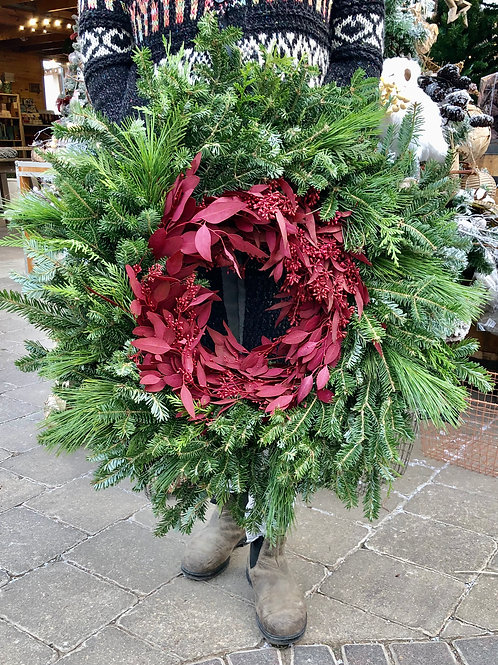 Wreath Blitzen - Mixed Greens with a centre ring of Red Seeded Eucalyptus