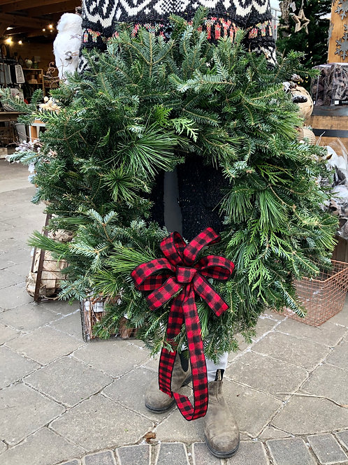 Wreath Lumber Jack - Our Fresh Mixed Greens, with a plaid bow