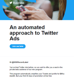 Twitter will advertise your page for 99$ a month, here's how it works.
