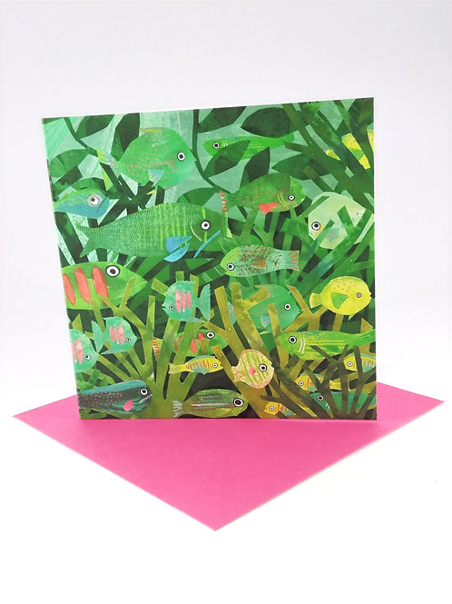 Green Fish Greetings Card