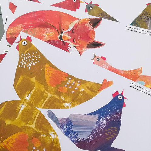 Fox & Hens hanging paper decoration