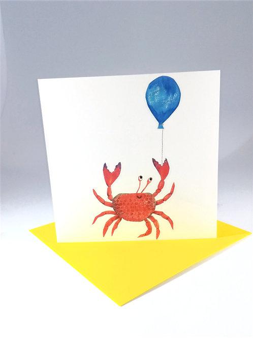 Blue Ballon Crab Greetings Card