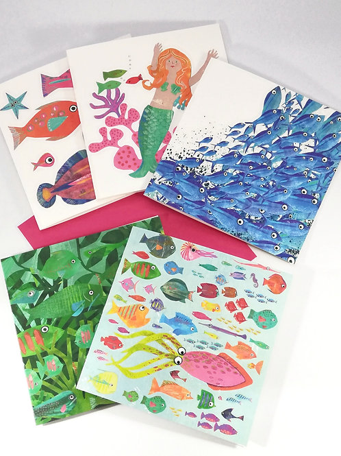 Under the Sea Pack of  5 Greetings Cards