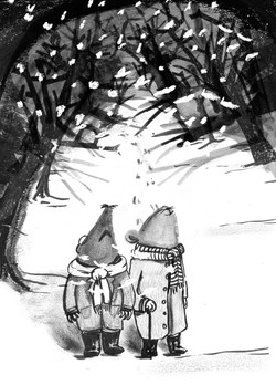 Ratty and Mole in Snow