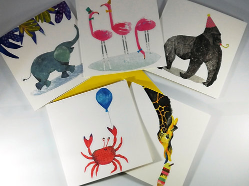Party Animals Pack of  5 Greetings Cards