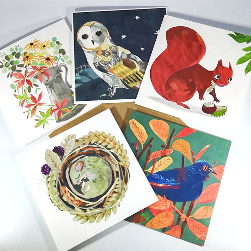 Autumn Animals Pack of  5 Greetings Cards