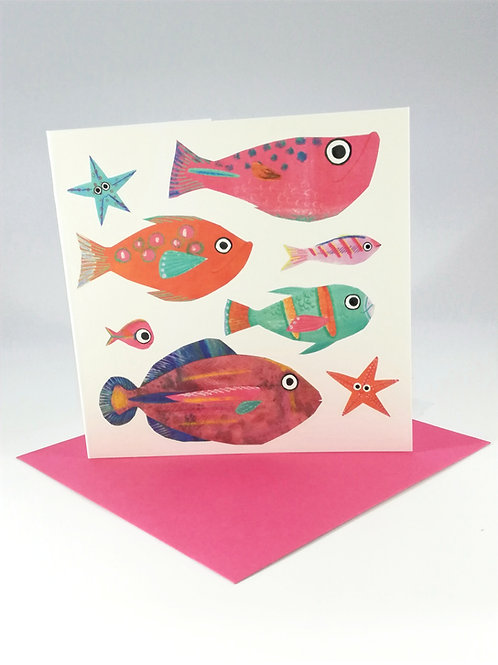 Pink Fish Greetings Card