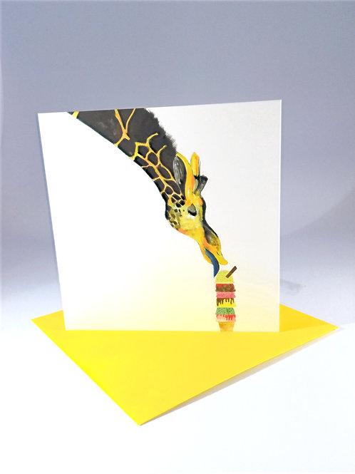 Ice Cream Giraffe Greetings Card
