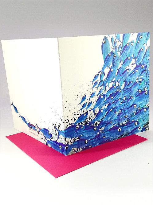 Blue Shoal of Fish Greetings Card