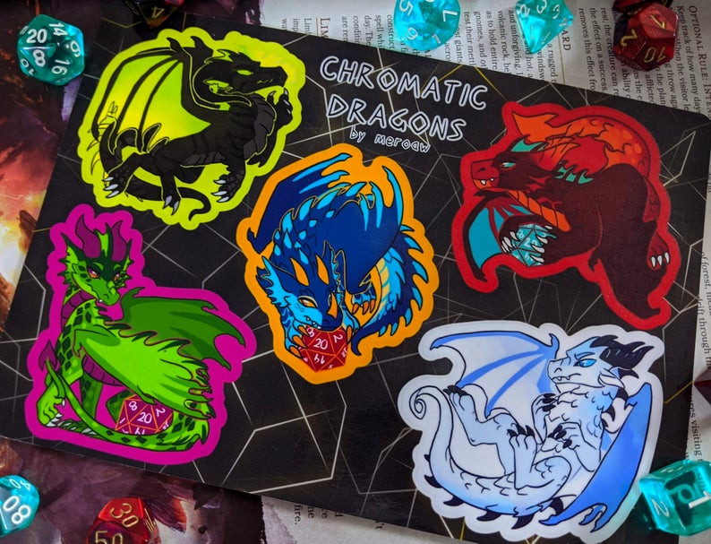 Chromatic Dragons Sticker Sheet