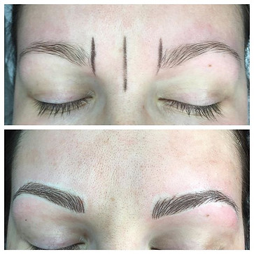Before and after 1st microblading session