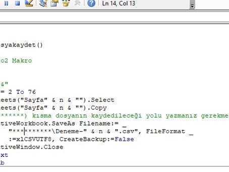 Excel sayfalarını makro ile csv olarak Kaydetmek.