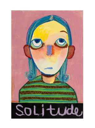 solitude, 30x45.4cm, mixedmedia on wood, 2021