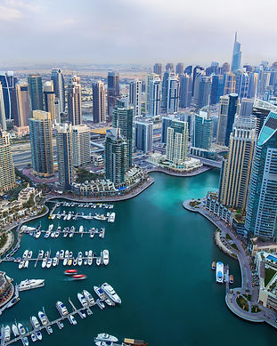 View on Dubai Marina skyscrapers and the
