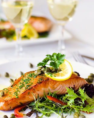 Grilled salmon fillet with vegetables an
